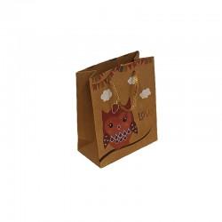 12 petits sacs en papier kraft brun naturel motif hibou rose 11.5x5.5x14cm - 9539