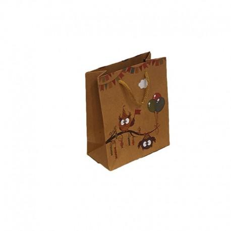 12 petits sacs en papier kraft brun naturel motif hiboux et ballons 11.5x5.5x14cm - 9540