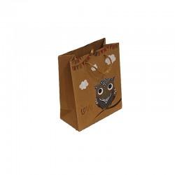 12 petits sacs en papier kraft brun naturel motif hibou gris 11.5x5.5x14cm - 9541