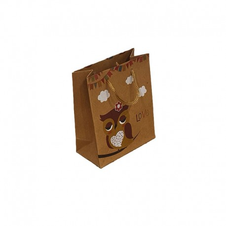 12 petits sacs en papier kraft brun naturel motif hibou jaune 11.5x5.5x14cm - 9542