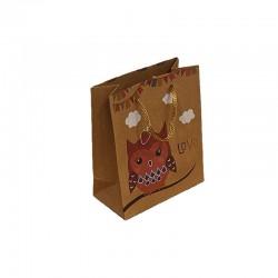12 sacs cabas en papier kraft brun motif hibou rose 15x6x20cm - 9543