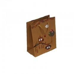12 sacs cabas en papier kraft brun motif hiboux et ballons 15x6x20cm - 9544