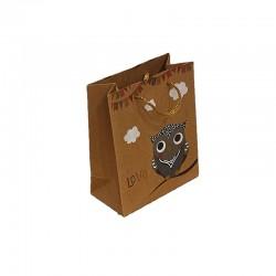 12 sacs cabas en papier kraft brun motif hibou gris 15x6x20cm - 9545