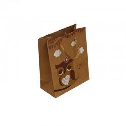 12 sacs cabas en papier kraft brun motif hibou jaune 15x6x20cm - 9546