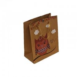 12 sacs cabas kraft de couleur brun motifs hibou rose et nuages 19x8x24.5cm - 9547