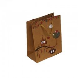 12 sacs cabas kraft de couleur brun motifs hiboux et ballons 19x8x24.5cm - 9548