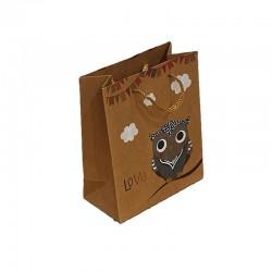12 sacs cabas kraft de couleur brun motifs hibou gris et nuages 19x8x24.5cm - 9549