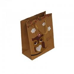 12 sacs cabas kraft de couleur brun motifs hibou jaune et nuages 19x8x24.5cm - 9550