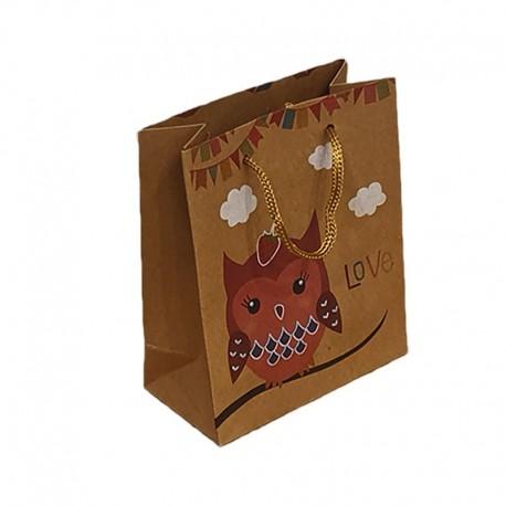 12 poches cadeaux kraft brun motif hibou rose et nuages 24x8x33cm - 9551
