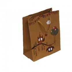 12 poches cadeaux kraft brun motif hiboux et ballons 24x8x33cm - 9552