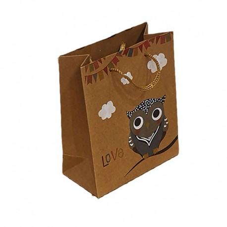 12 poches cadeaux kraft brun motif hibou gris et nuages 24x8x33cm - 9553