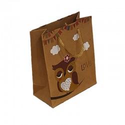12 poches cadeaux kraft brun motif hibou jaune et nuages 24x8x33cm - 9554