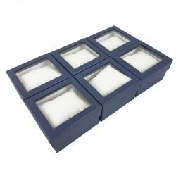 6 écrins cadeaux de couleur bleu nuit avec coussin