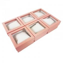 6 écrins cadeaux de couleur rose avec coussin 9x5.5x8.5cm - 10152