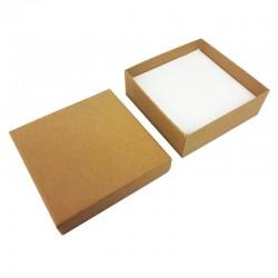 Lot de 24 écrins à bijoux kraft brun naturel pour parures 8.5x8.5cm - 10154