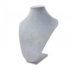10 bustes en velours gris de 27cm pour chaînes - 9498x10