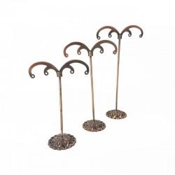 3 petits arbres bijoux en métal cuivré 2 paires de boucles d'oreilles - 9560