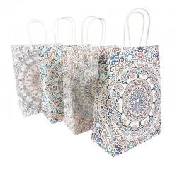 12 sacs papier kraft lisse blanc décor mandalas 18.5x9.5x25.5cm - 9565