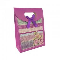 12 boîtes cadeaux velcro rose magenta à fleurs 12.5x6x16cm - 9574