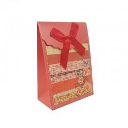 12 petites pochettes bijoux rouge corail à fleurs 7.5x4x10.5cm - 9569