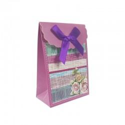 12 petites pochettes bijoux rose magenta à fleurs 7.5x4x10.5cm - 9570