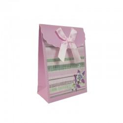 12 petites pochettes bijoux rose lilas à fleurs 7.5x4x10.5cm - 9571