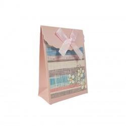 12 petites pochettes bijoux rose poudré à fleurs 7.5x4x10.5cm - 9572