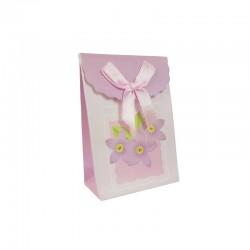 12 petites boîtes cadeaux bijoux rose lilas à fleurs 7.5x4x10.5cm - 9577