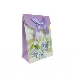 12 petites boîtes cadeaux bijoux mauves et blanches à fleurs 7.5x4x10.5cm - 9578