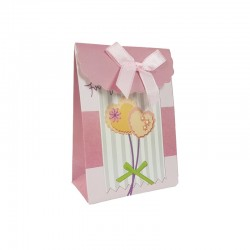 12 petites boîtes cadeaux bijoux rose clair motif coeurs 7.5x4x10.5cm - 9579