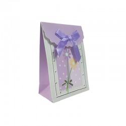 12 petites boîtes cadeaux bijoux mauve à fleurs 7.5x4x10.5cm - 9580