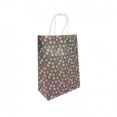12 sacs papier kraft gris foncé à fleurs 18.5x9.5x25.5cm - 9589