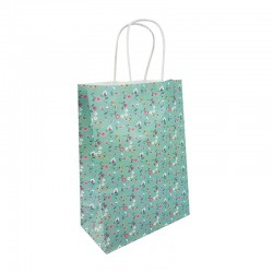12 sacs papier kraft vert d'eau à fleurs 18.5x9.5x25.5cm - 9590