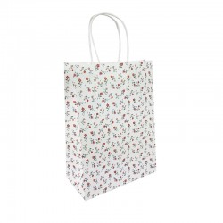 12 sacs papier kraft blanc à fleurs 18.5x9.5x25.5cm - 9592