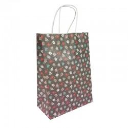 12 grands sacs en papier kraft à fleurs sur fond gris foncé 25.5x12x33cm - 9593