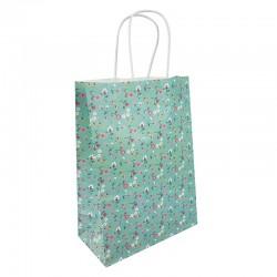 12 grands sacs en papier kraft à fleurs sur fond vert d'eau 25.5x12x33cm - 9594