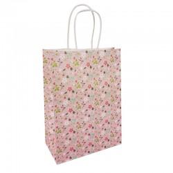 12 grands sacs en papier kraft à fleurs sur fond rose tendre 25.5x12x33cm - 9595