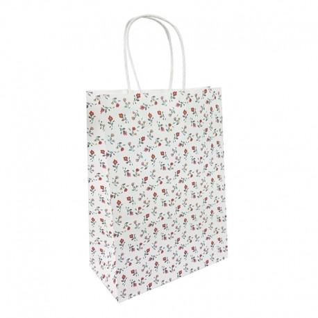 12 grands sacs en papier kraft à fleurs sur fond blanc 25.5x12x33cm - 9596