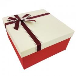 Petit coffret cadeaux bicolore rouge et blanc crème 16.5x16.5x9.5cm - 9634p