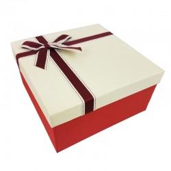 Coffret cadeaux de couleur rouge vif et blanc crème 20.5x20.5x10.5cm - 9635m