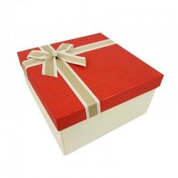 Petit coffret cadeaux écru et rouge vif 16.5x16.5x9.5cm - 9637p