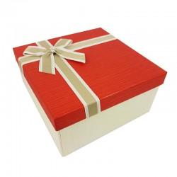 Coffret cadeaux de couleur écru et rouge vif 20.5x20.5x10.5cm - 9638m