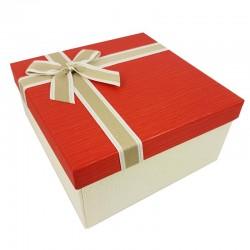 Grand coffret cadeaux bicolore de couleur écru et rouge vif 24.5x24.5x12cm - 9639g