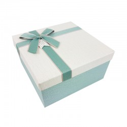 Petit coffret cadeaux bicolore bleu givré et blanc cassé 16.5x16.5x9.5cm - 9640p