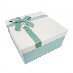 Coffret cadeaux de couleur bleu givré et blanc cassé 20.5x20.5x10.5cm - 9641m