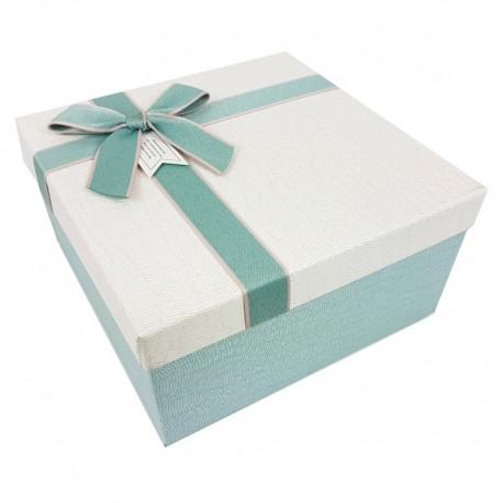 Grand coffret cadeaux de couleur bleu givré et blanc cassé 24.5x24.5x12cm - 9642g