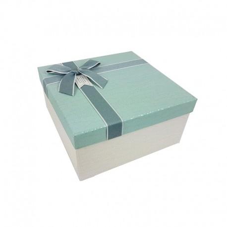 Petit coffret cadeaux blanc cassé et bleu givré 16.5x16.5x9.5cm - 9643p