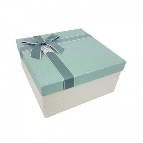 Coffret cadeaux blanc cassé et bleu givré 20.5x20.5x10.5cm - 9644m