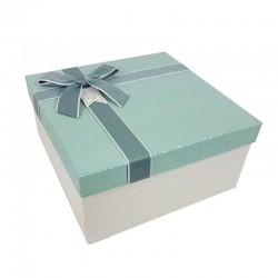 Grand coffret cadeaux bicolore de couleur blanc cassé et bleu givré 24.5x24.5x12cm - 9645g