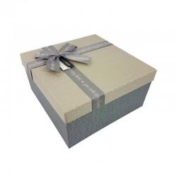 Petit coffret cadeaux bicolore gris ardoise et grège 16.5x16.5x9.5cm - 9646p